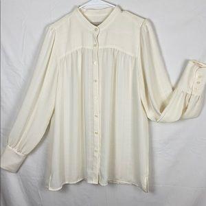 Loft ivory button down blouse medium